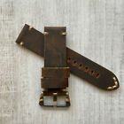 Genuine Brown Leather Watch Strap Bracelet Wrist Band For Panerai PAM Watches