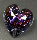 Heart Shaped Paperweight Purple Red White Signed 1996