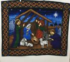 Nativity Christmas Wall Tapestry Hanging Manger Scene Baby Jesus Mary 42 x 34