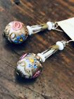 Vintage Art Deco Venetian Murano Gold Dust Italian Glass Earrings Wedding Cake