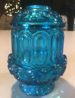 Vintage L.E. Smith Moon And Stars Blue Fairy Lamp Candle Holder Light