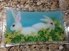 Peggy Karr Studio Fused Glass Bunnies Tray Boxed and Signed