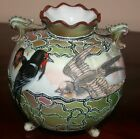Antique Nippon Moriage W Painted Birds Fancy Vase A+ Condition