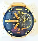 Diesel Mr. Daddy Men's Watch Dual Time Gold Chronograph Dial Gold Band DZ7333