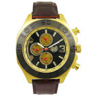 Kronwerk Mens Dress Watch Brown Leather Strap Gold Tone Case Large Black Dial