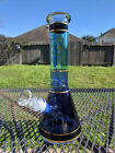 Glass Beaker Water Pipe Bong Phoenix Fading Blue with Gold Lines 10 Tall