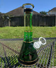 Glass Beaker Water Pipe Bong Phoenix Fading Green with Gold Lines 10 Tall
