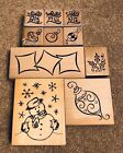 DENAMIDESIGNS XMAS RUBBER STAMP SET BAUBLES PRESENTS HOLLY SNOWMAN NEW