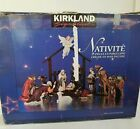 Kirkland Signature 13pc Porcelain Nativity Set Wood Creche Hand Painted