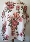 Agnes  Dora Boxy Sweater Knit Top Size Small White Pink Floral