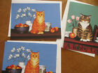 3 SUSAN POWERS NOTE CARDS  ENVELOPES TABBY  ORANGE GINGER CAT BLANK
