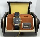 Vintage NOS Bulova Accutron Quartz Black Dial Gold Tone Watch In Box With Papers