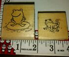 Frogs kids stamp hero arts lot of 2 C51woodenrubberstamp