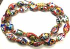 16 VINTAGE MURANO MILLEFIORI VENETIAN GLASS OVAL BEAD HAND KNOTTED NECKLACE 447