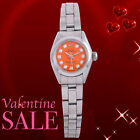 Rolex Ladies SS Oyster Perpetual - Orange Diamond Dial - Smooth Bezel - Sale