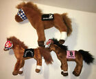3 TY Beanie Babies TY Horse Racing Stuff Animal Barbaro Secretariat Horse Racing