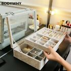 Velvet Gray Carrying Case Glass Cover Jewelry Ring Display Box Tray Holder Box