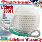 1 2inch 200FT Twisted 3 Strand Nylon Anchor Rope Braided Boat Line w Thimble