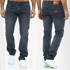Men Denim Jeans Regular Fit Pants Classic Design Vintage Stone Washed