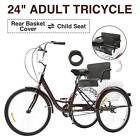24 Adult Tricycle 3 Wheel w Basket for Shopping Cruise Durable Cycling