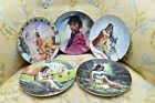 Lot of 5 Hamilton Collection Decorative Plates Native American Themed Gold Trim