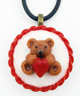 Glass Teddy Bear with Heart Cookie Mini Ornament or Pendant 71 203