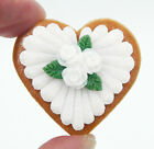 Glass Heart Shaped White Rose Cookie Mini Ornament or Pendant 71 202