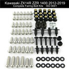 Complete Fairing Bolts Screws Fasteners Kit For Kawasaki ZX14R ZZR1400 2012-2019