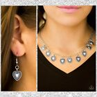 Paparazzi Lost In The Moment Silver Tone Necklace Set Heart Charms with Earrings
