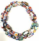 28 VINTAGE MURANO MILLEFIORI VENETIAN GLASS ROUND  RECTANGLE NECKLACE 621