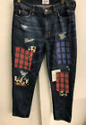 Hudson Womens Jeans Boyfriend paches vintage skinny new Stitchings Jean Size 27