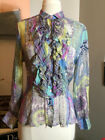 Etro Size 46 Blue  Green Silk Paisley sheer Ruffle Blouse 1016 21 121019