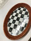 MacKenzie Childs Courtly Check Rattan  Enamel Tray 7 3 4 x 11 1 2 x 1 1 2  D