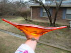 Antique Vtg Murano Large Canoe Splash Bowl Hand Blown Art Glass Amberina