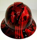 FULL BRIM Hard Hat custom hydro dipped NEW CANDY RADIOACTIVE RED ACE OF SKULLS