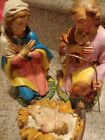 Vtg 4pc Nativity Set Large 12 Scale HAND PAINTED Italy Jesus Mary Joseph Creche