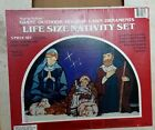 True to Nature Giant outdoor Holiday lawn ornaments Nativity 3 piece masonite