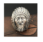 Indian Head Chief Ring 925 Sterling Silver Native American Biker Jewelry