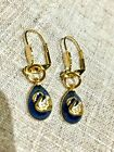 Joan Rivers Faberge Egg Earrings Swan Blue Gold Plated Classic Lever backs New