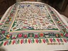 Vintage German Tablecloth Cities  Coat Of Arms Colorful  Could Be Hung