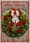 Christmas Wreath With Red And White Bow Holiday Greeting Cards