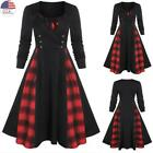 ✅Women Gothic Steampunk Vintage Plaid Check Swing Dress Christmas Party Costume