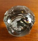 1977 SIGNED JOHN BINGHAM ART GLASS Clear Multicolored Faceted Cut Paperweight