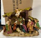 Rare New 12 Resin Nativity Manger Scene Crche Kings Gloria Angel Table Figure
