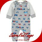 NWT HANNA ANDERSSON REVERSIBLE ROMPER TEE SET TOY TRAINS PRINT 75 12-18 M