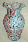 1898 Antique Legras Spatter Glass Vase with Basket Weave Pattern and Ruffled Top