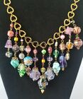Vintage Murano Venetian Glass Assorted Art Beads Festoon Bib Hearts Necklace