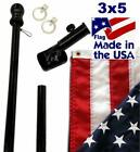 Black 6ft Spinning Pole and American Flag Kit with Embroidered Stars USA MADE