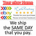 30 eBay Thank You Stickers for Sellers Address Label Size CUSTOM NAME