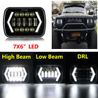 105W 5x7 7x6 inch LED Headlight Hi Lo Beam Halo DRL For Jeep Cherokee XJ YJ